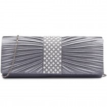 LY6683-Miss Lulu Ladies Diamante Satin Clutch Evening Bag Silver