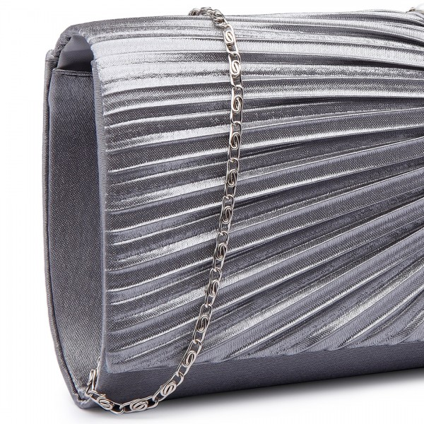 LY6683 - Miss Lulu Diamante and Pearl Ruched Satin Clutch Evening Bag Silver