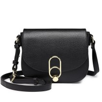 LZ1831 - MISS LULU CROSS BODY SADDLE BAG - BLACK