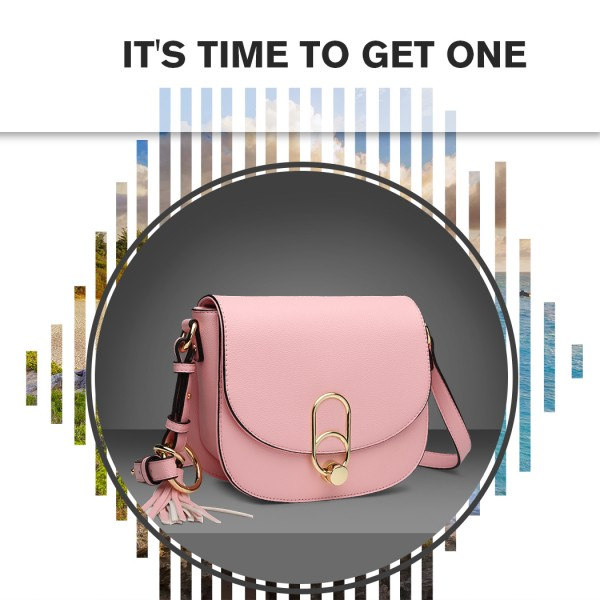 LZ1831 - MISS LULU CROSS BODY SADDLE BAG - PINK