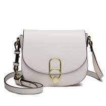 LZ1831 - MISS LULU CROSS BODY SADDLE BAG - WHITE