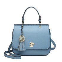 LZ1832 - MISS LULU LEATHER LOOK TASSEL KEYHOLE SATCHEL SADDLE BAG - BLUE