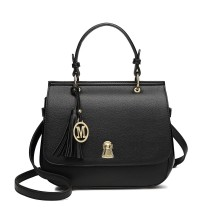LZ1832 - MISS LULU LEATHER LOOK TASSEL KEYHOLE SATCHEL SADDLE BAG - BLACK