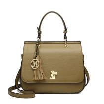 LZ1832 - MISS LULU LEATHER LOOK TASSEL KEYHOLE SATCHEL SADDLE BAG - GREEN