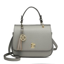 LZ1832 - MISS LULU LEATHER LOOK TASSEL KEYHOLE SATCHEL SADDLE BAG - GREY