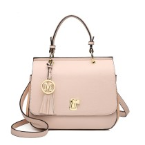 LZ1832 - MISS LULU LEATHER LOOK TASSEL KEYHOLE SATCHEL SADDLE BAG - NUDE