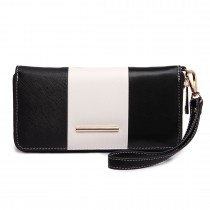 LP1695 - Miss Lulu Large Faux Leather Centre Stripe Purse Black
