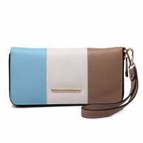 LP1695 - Miss Lulu Large Faux Leather Centre Stripe Purse Blue