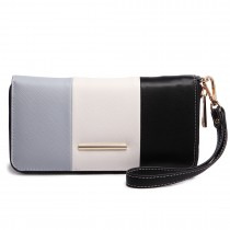 LP1695 - Miss Lulu Large Faux Leather Centre Stripe Purse Grey
