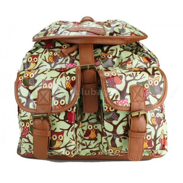 L1103WO - Miss Lulu Oilcloth Backpack Owl Green