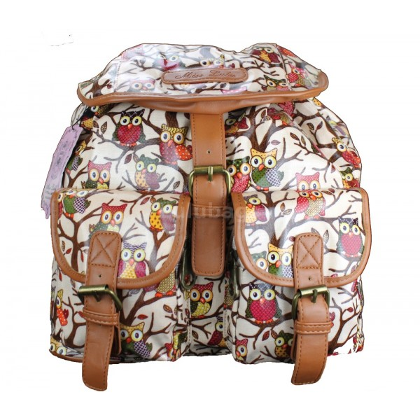 L1103WO - Miss Lulu Oilcloth Backpack Owl Pink