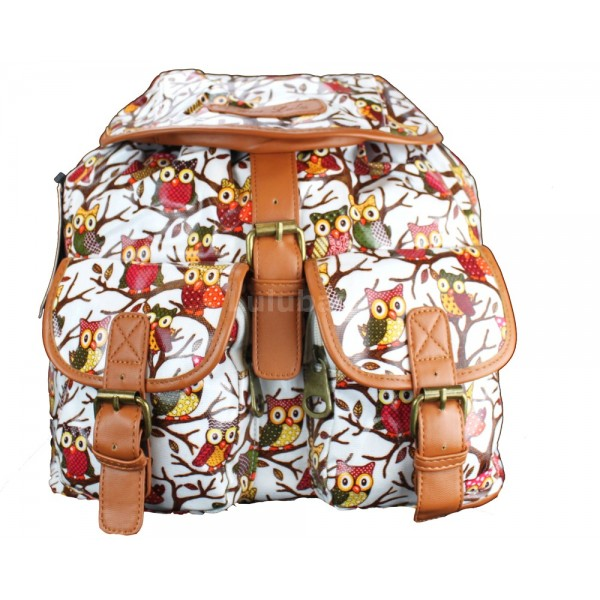 L1103WO - Miss Lulu Oilcloth Backpack Owl White