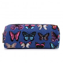PC-B - Miss Lulu Canvas Pencil Case Butterfly Navy