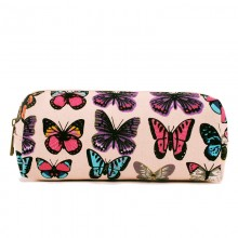 PC-B - Miss Lulu Canvas Pencil Case Butterfly Pink