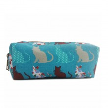 PC-CT - Miss Lulu Canvas Pencil Case Cat Teal