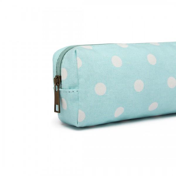 PC - Miss Lulu Canvas Pencil Case  Polka Dot Blue