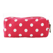 PC-D - Miss Lulu Canvas Pencil Case Polka Dot Plum