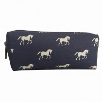 PC - Miss Lulu Canvas Pencil Case Horse Navy