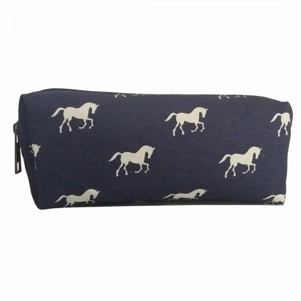 PC - Miss Lulu Canvas Pencil Case Horse Navy