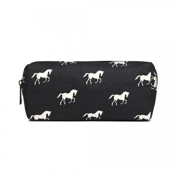 PC - Miss Lulu Canvas Pencil Case Horse Black