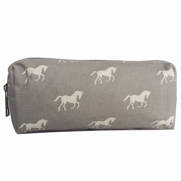 PC - Miss Lulu Canvas Pencil Case Horse Grey