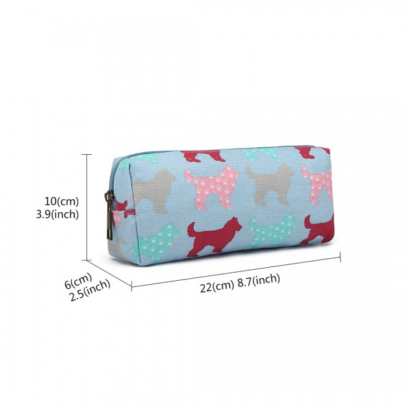 PC - Miss Lulu Canvas Pencil Case Dog Blue