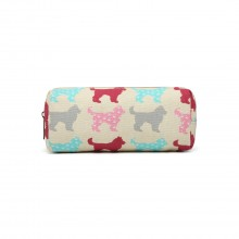 PC - Miss Lulu Canvas Pencil Case Dog Beige