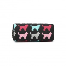 PC - Miss Lulu Canvas Pencil Case Dog Black