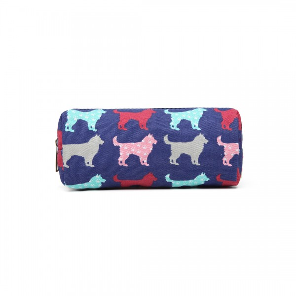 PC - Miss Lulu Canvas Pencil Case Dog Navy