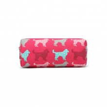 PC - Miss Lulu Canvas Pencil Case Dog Plum