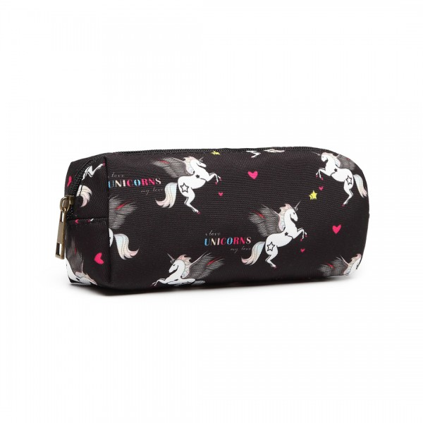 PC-UN - MISS LULU UNICORN CANVAS PENCIL CASE - BLACK
