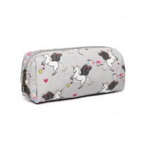 PC-UN BK-MISS LULU UNICORN CANVAS PENCIL CASE GRIS