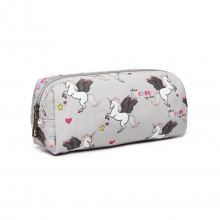 PC-UN - MISS LULU UNICORN CANVAS PENCIL CASE - GREY
