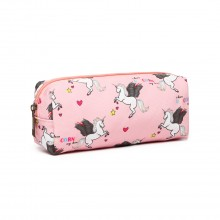 PC-UN - MISS LULU UNICORN CANVAS PENCIL CASE - PINK