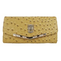 L1416 - Miss Lulu Stylish Ostrich Purse Apricot