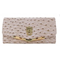 L1416 - Miss Lulu Stylish Ostrich Purse Camel