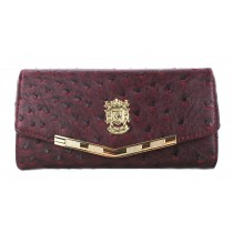 L1416 - Miss Lulu Stylish Ostrich Purse Claret