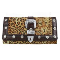 L1154 - Miss Lulu Fur Front Studded Flapover Purse Leopard Coffee