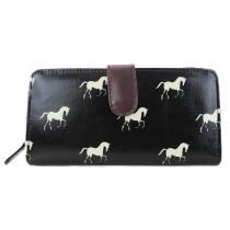 L1109H - Miss Lulu Oilcloth Purse Horse Black