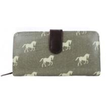 L1109H - Miss Lulu Oilcloth Purse Horse Grey