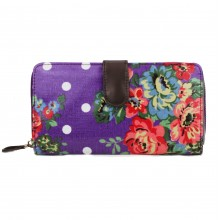 L1109F - Miss Lulu Oilcloth Purse Flower Polka Dot Purple