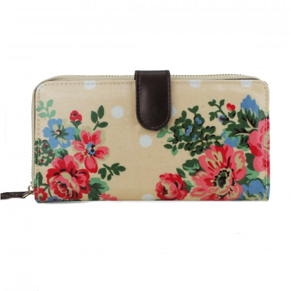 L1109F - Miss Lulu Oilcloth Purse Flower Polka Dot Pink