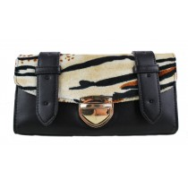 L1127-1 - Miss Lulu Fur Front Flapover Purse Tiger Black