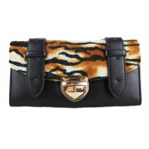 L1127-2 - Miss Lulu Fur Front Flapover Purse Tiger Black