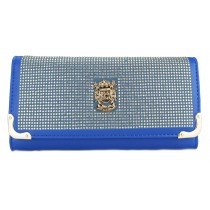 L1152 - Miss Lulu Classic Style Leather Look Diamante Purse Navy
