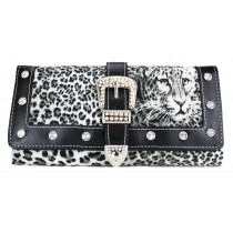 L1154 - Miss Lulu Fur Front Studded Flapover Purse Leopard Black
