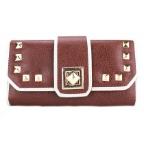 L1155 - Miss Lulu Classic Style Leather Look Studded Buckle Purse Brown