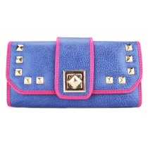 L1155 - Miss Lulu Classic Style Leather Look Studded Buckle Purse Navy
