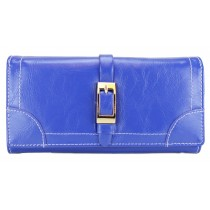 L1149 - Miss Lulu Classic Style Leather Look Buckle Purse Blue