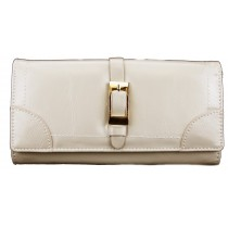 L1149 - Miss Lulu Classic Style Leather Look Buckle Purse Beige